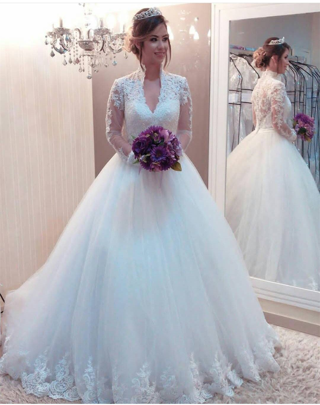 V+Neck+Ball+Gown+Wedding+Dress+with+Long+Sleeves Fabric:+Tulle Back+ ...