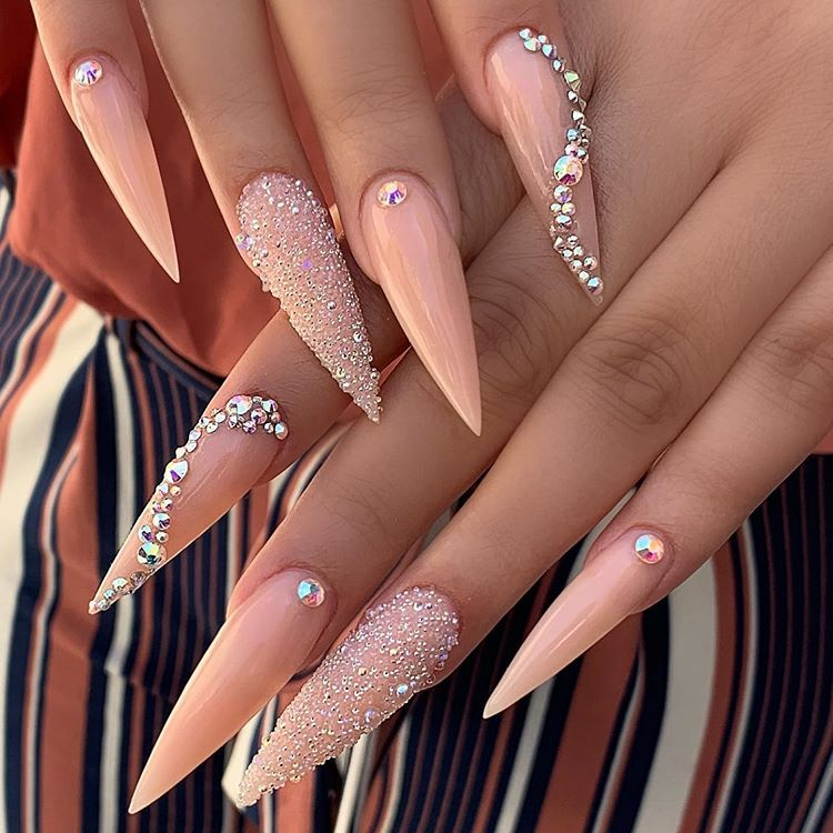 Nails By Ashlee Her Sets Are 30 Off Our Original Price Long Acrylic Nails Rhinestone Nails Stiletto Nails Designs