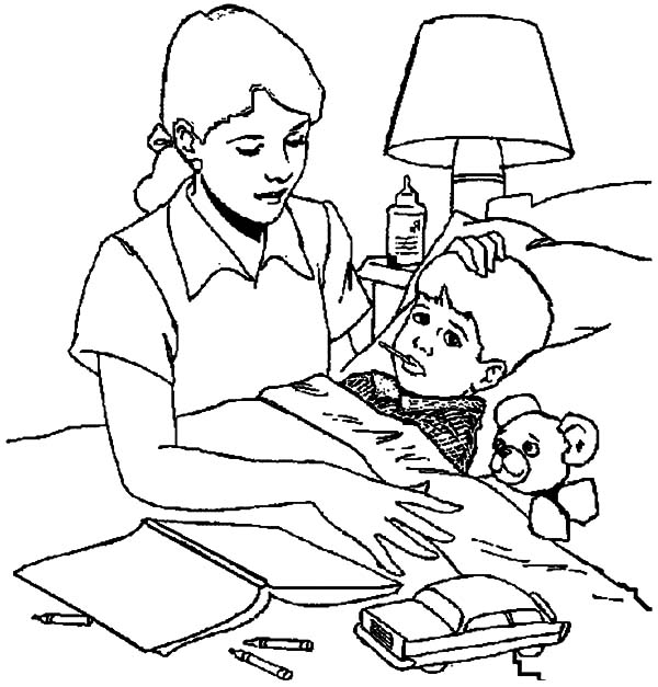 Sick Boy Eat Medicine For His Health Coloring Pages Coloring Sun Mom Coloring Pages Coloring Pages For Kids Sick Kids