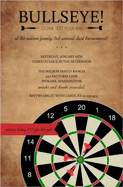 Bullseye Dart Game Night Invitation | Recreation | Pinterest | Game ...