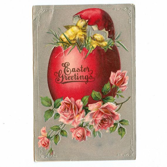 Vintage Easter Postcard  Big Red Colored Egg w Two by datedpaper