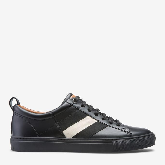 Cheap Bally Black Helvio Leather And Webbing Trainers for Men Sale Online
