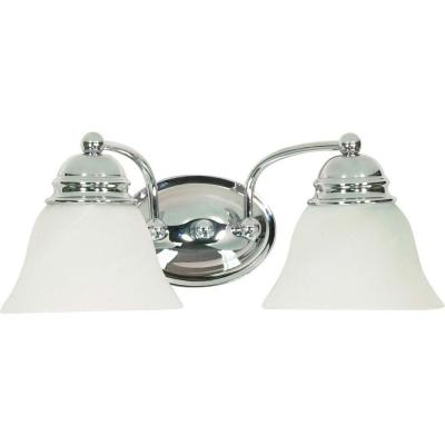 Glomar 2 Light Polished Chrome Vanity With Alabaster Gl Bell Shades Vanities And Lights