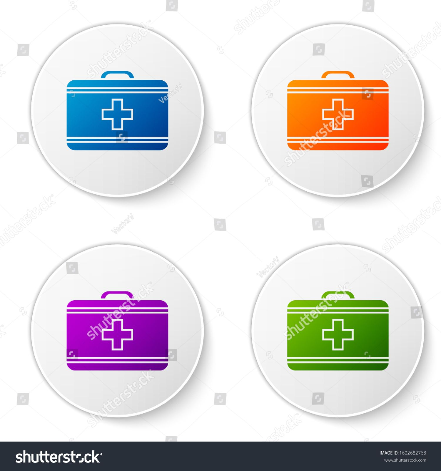 Color first aid kit icon isolated on white background