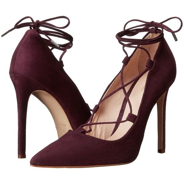 Massimo Matteo Lace-Up Mid Heel (Red Suede) High Heels (£55) ❤ liked on Polyvore featuring shoes, pumps, heels, zapatos, high heels, red, high heeled footwear, mid-heel shoes, suede pointed toe pumps and mid-heel pumps