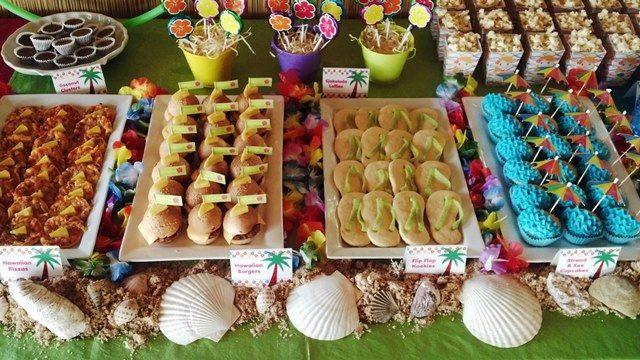 Hawaiian Luau Food Table