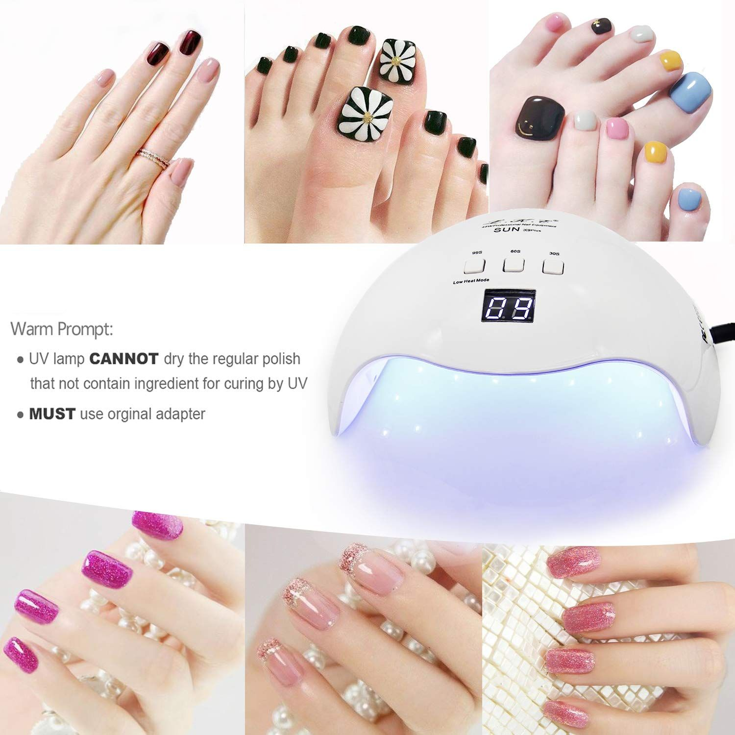 Gel Uv Led Nail Lamp Lke Nail Dryer 40w Gel Nail Polish Led Uv Light With 3 Timers Professional Nail Art Tools Accessor In 2020 Led Nail Lamp Gel Nail Polish Gel Nails