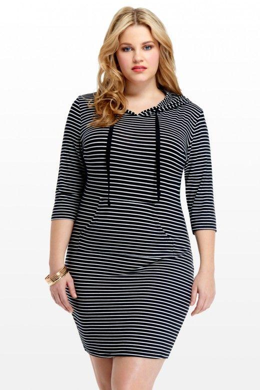 Venus Stripe Hoodie Dress Ftf New Plus Size Arrivals 2015