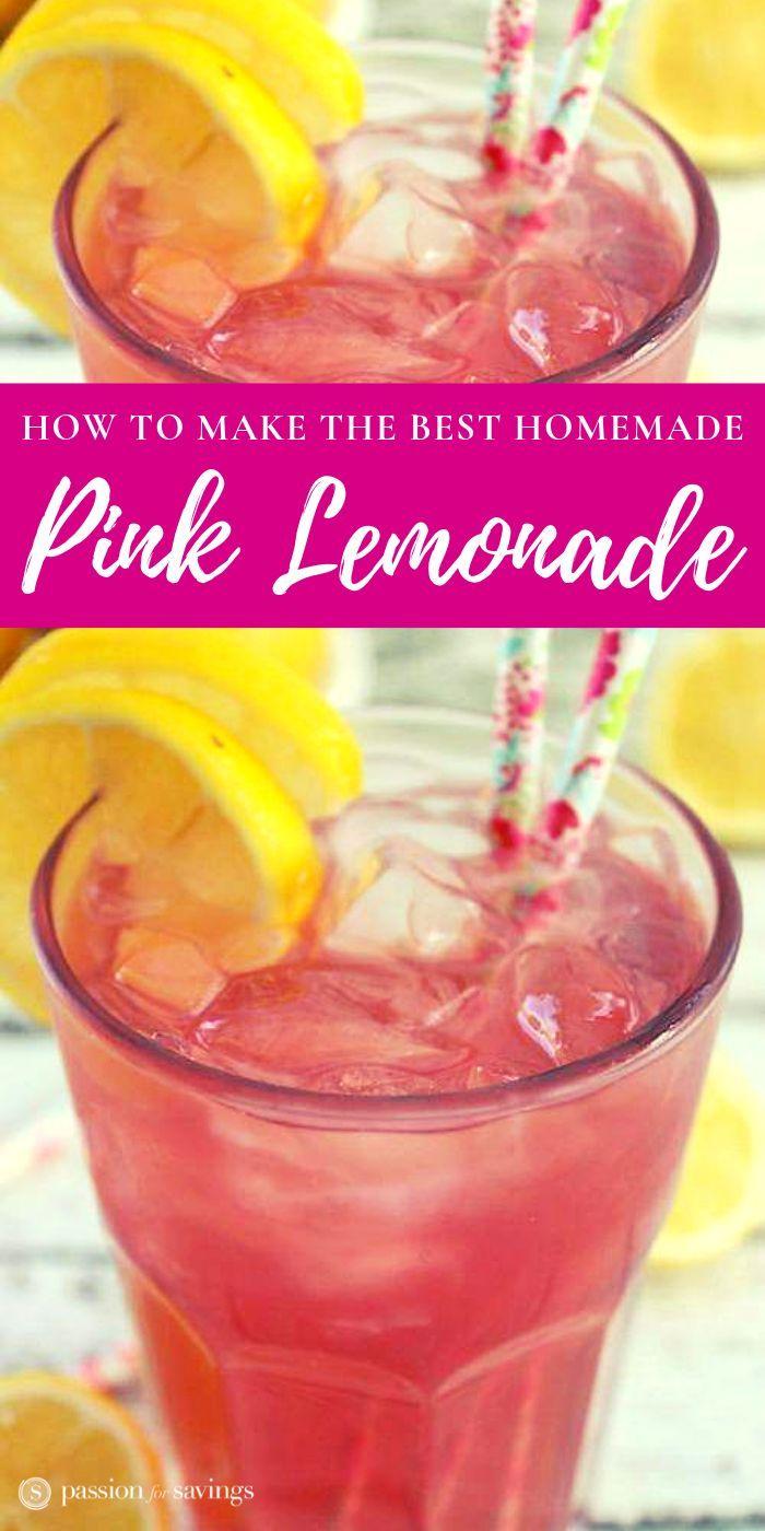 Homemade Pink Lemonade Recipe! #pinklemonade
