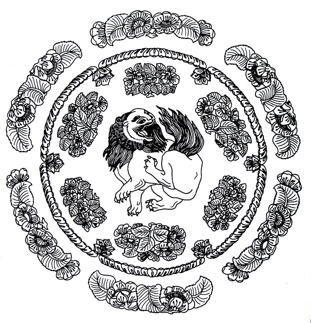 chinese lion coloring page - medallion with lion design chinese design coloring book