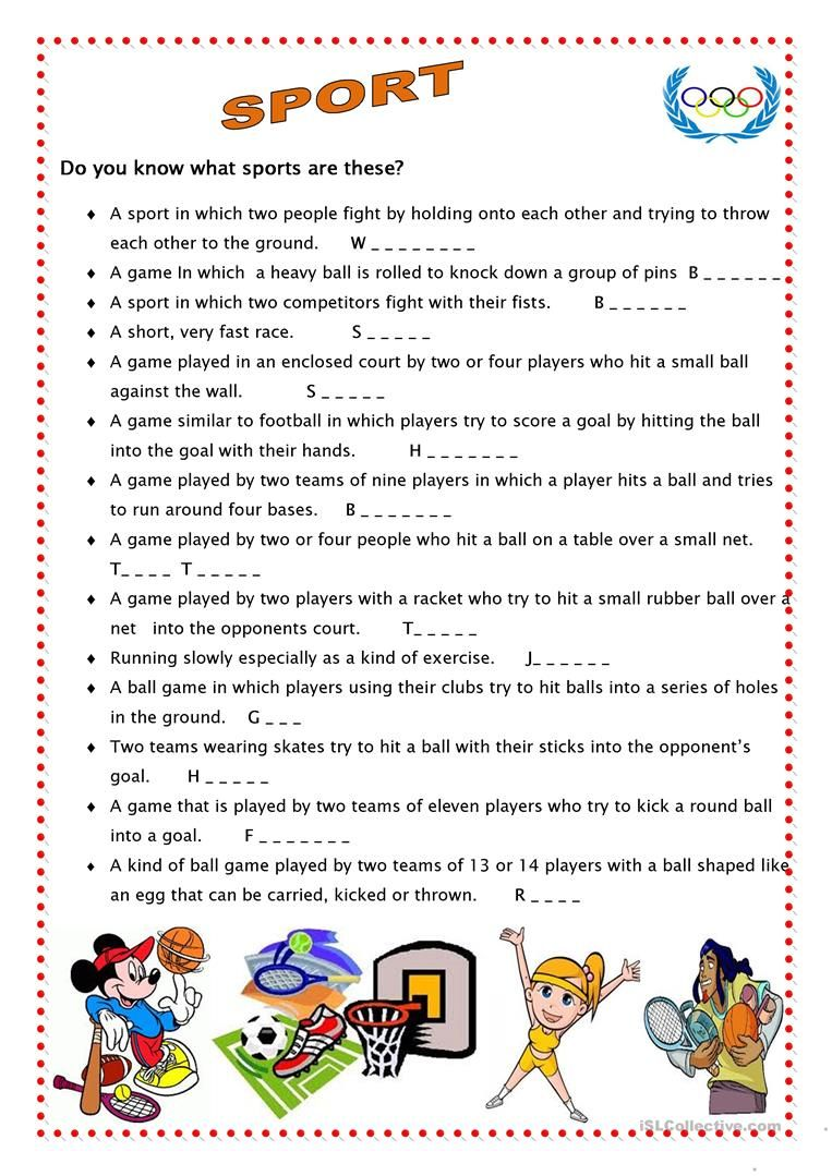 Sport 4 English Esl Worksheets For Distance Learning And Physical Classrooms Teach English To Kids Sport English Teaching English [ 1079 x 763 Pixel ]