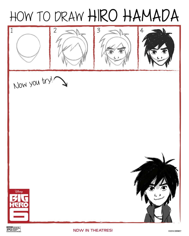 How to Draw Hiro Hamada from Big Hero 6 Free Printable
