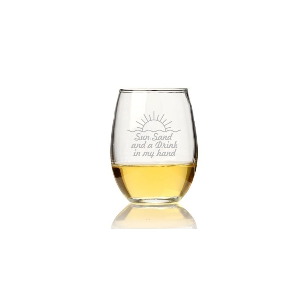 Madison Sun, Sand And A Drink In My Hand Stemless Wine Glass (Set of 4), Clear