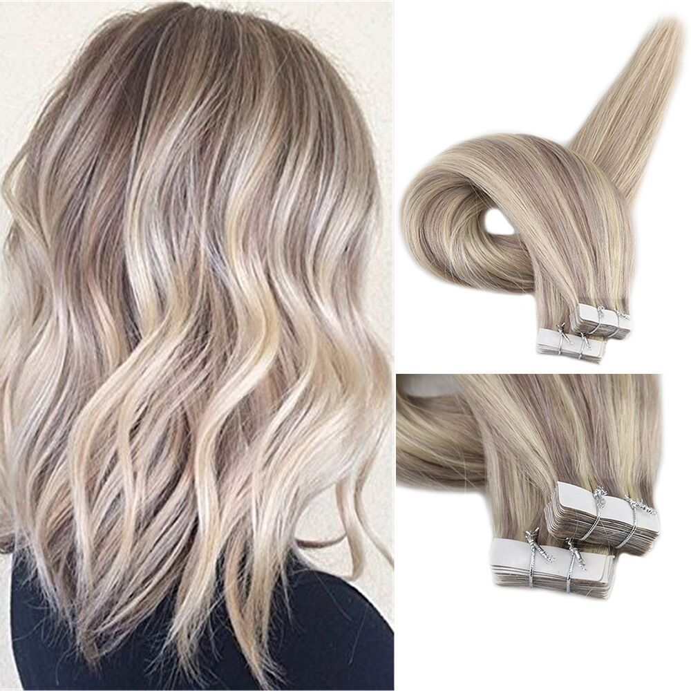 Full Shine Pu Tape In Human Hair Extensions Color 18613 Caramel