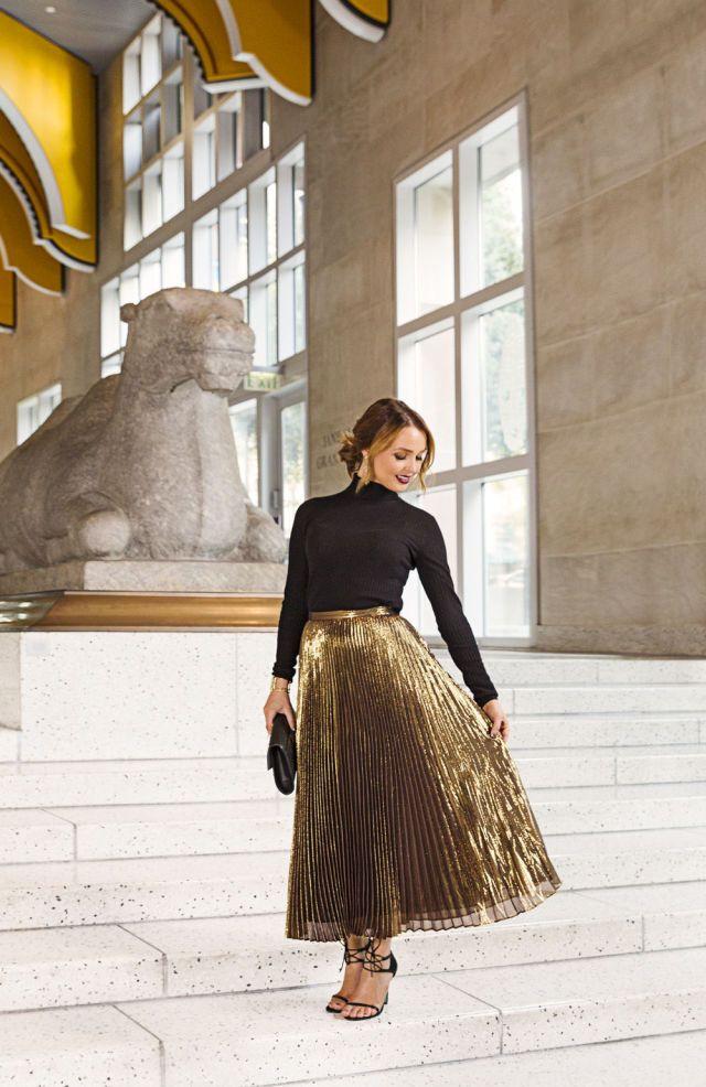 Camilla Luddington S Sparkly Holiday Style Gold Pleated