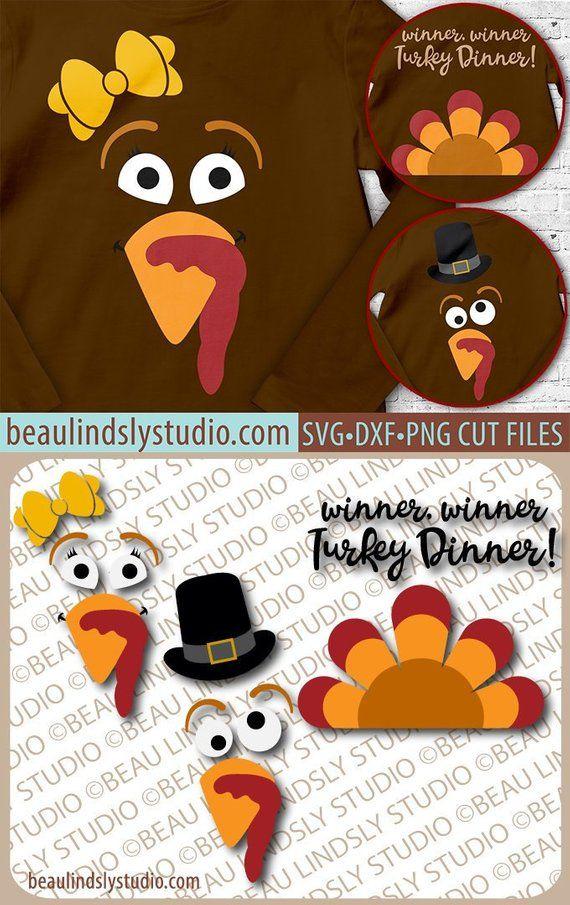 Funny Thanksgiving Turkey Faces SVG, Boy Turkey Face, Girl