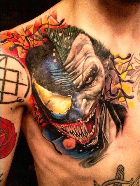 Joker Chest Tattoo : joker, chest, tattoo, VenomJoker, Tattoo, Awesomely, Disturbing, Joker, Tattoo,, Super, Tattoos,, Marvel, Tattoos