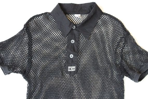 Black Fishnet Polo Shirt - Net Mesh Top- Collar button up- Vintage Nineties  -Sports - XL Slouchy Stretchy - punk -90s grunge - unisex