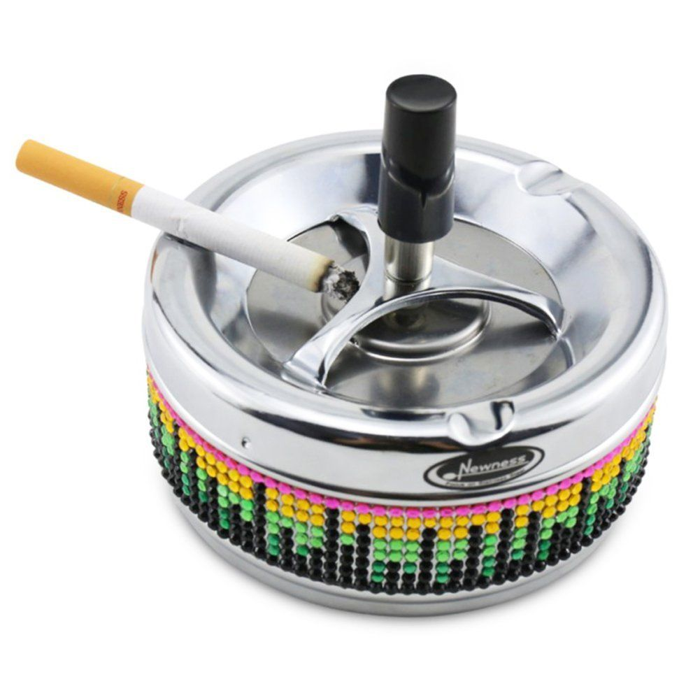 Ashtray, Newness Stainless Steel Round Push Down Ashtray with ...