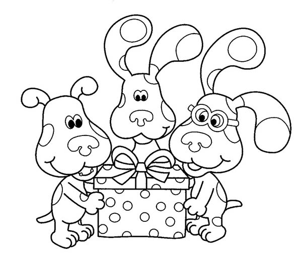 Blues Clues And Friends Open A Birthday Present Coloring Page Coloring Sun Birthday Coloring Pages Happy Birthday Coloring Pages Coloring Pages
