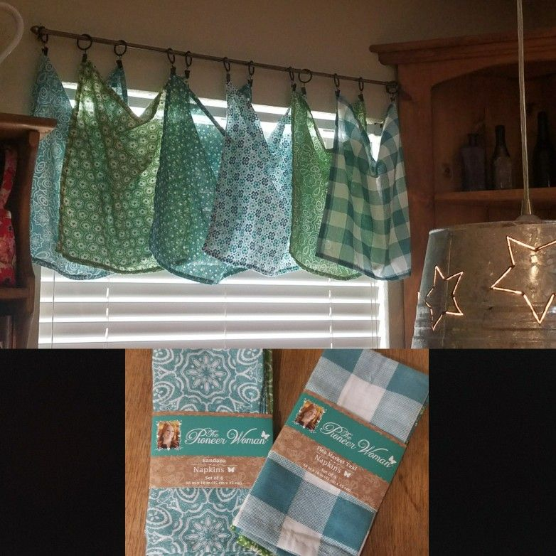 Curtains Made From Pioneer Woman Napkins Kitchen Window Treatments Diy Window Treatments Kitchen Window Treatments Diy