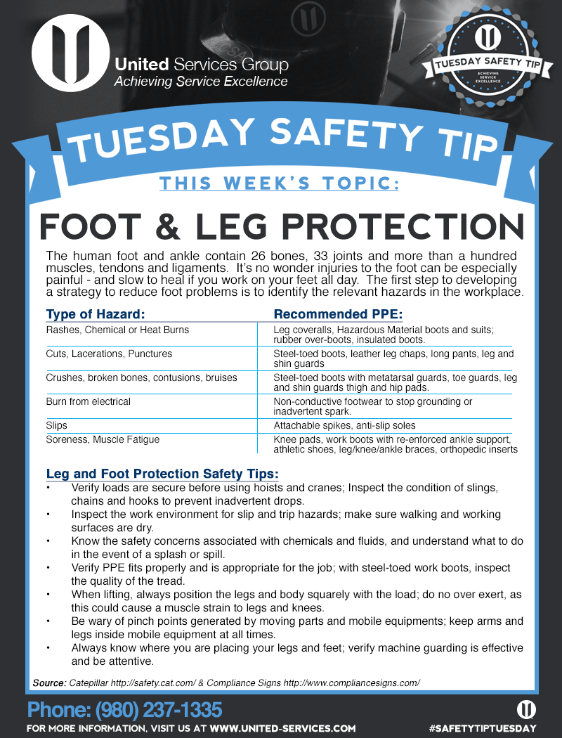 This week's Tuesday Safety Tip is about Foot and Leg