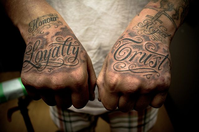 Custom Fancy Font Hands Hand Tattoos For Guys Respect Tattoo Loyalty Tattoo