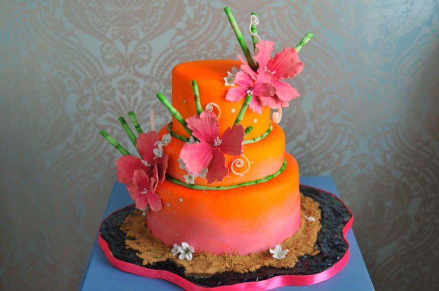 Tropical Themed Cakes Lisa Gregs Hawaiian Themed Wedding