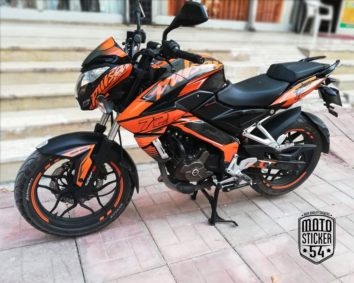 Bajaj Pulsar Ns200 Custom Design Orange Sticker Kit Motosticker54