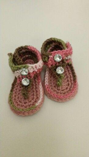 Sandels I just finished (camo pink)