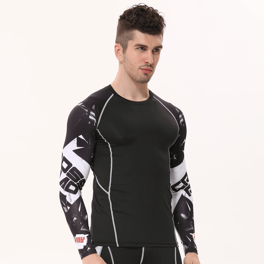 Mens Long Sleeves Gym Skin Tight Thermal Compression Shirt Item Type  Tops  Tops Type  Tees Gender  Men Sleeve Length(cm)  Full Collar  O-Neck Sleeve  Style  ... 0d856e3587a4