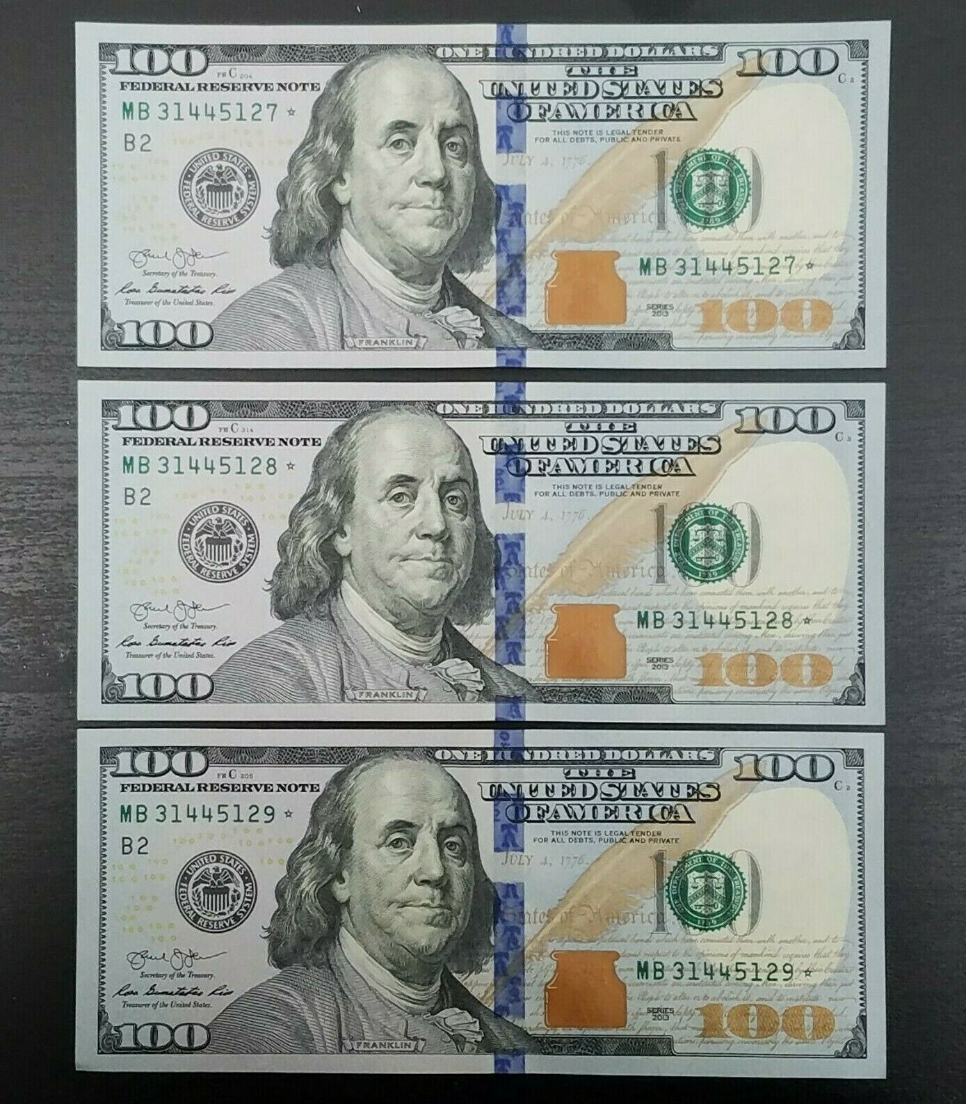 3 Consecutive Serial Numbers Uncirculated 2013 Star Note 100 Dollar Bill Frn Us Paper Money Ideas Of Us Paper Money 100 Dollar Bill Dollar Bill Dollar