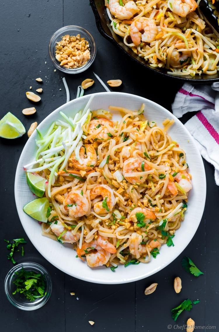 Pad Thai Shrimp with Roasted Peanuts and homemade Pad Thai