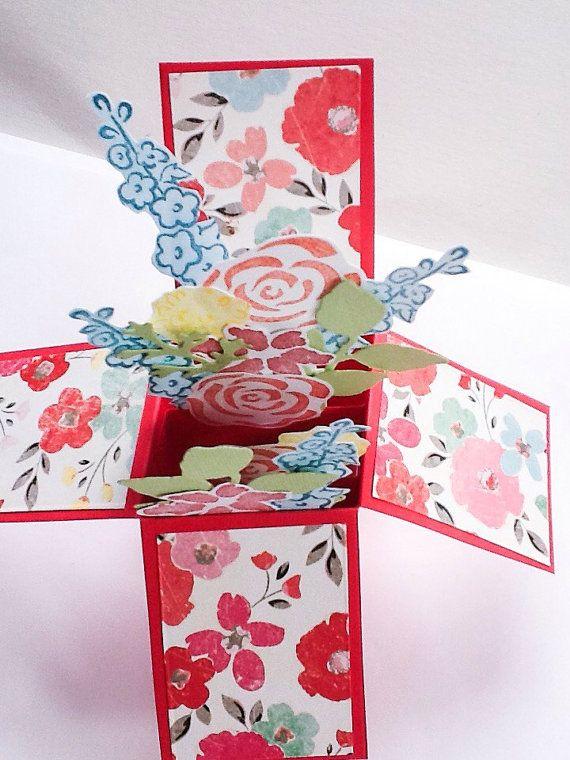flower pop up box card  3d card  hummingbirds  pop up