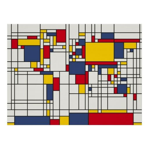 Abstract Map Of The World.World Map Abstract Mondrian Style Poster Interior Styling Piet