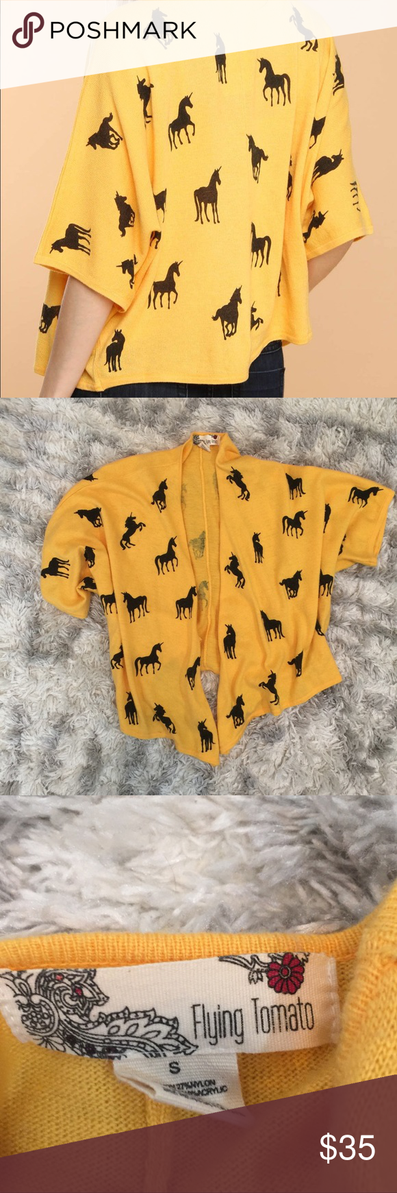 Anthropologie Unicorn Mustard Yellow Shawl Gorgeous Mustard yellow Anthropologie Flying Tomato Shawl/sweater. Gently used. Excellent condition! Flying Tomato Sweaters Shrugs & Ponchos #mustardyellow