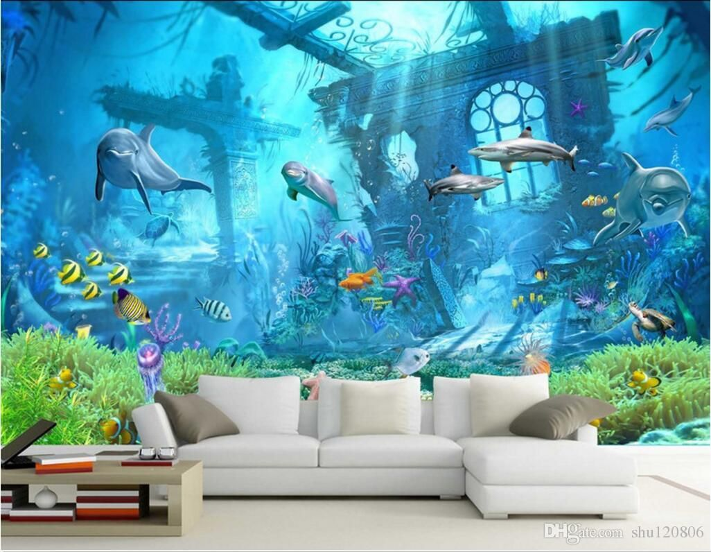 3d Room Wallpaper Custom Photo Mural Underwater World Dolphin Remains Home Decor Painting Picture 3d Wall Mural Wall Wallpaper Kids Room Wallpaper 3d Wallpaper