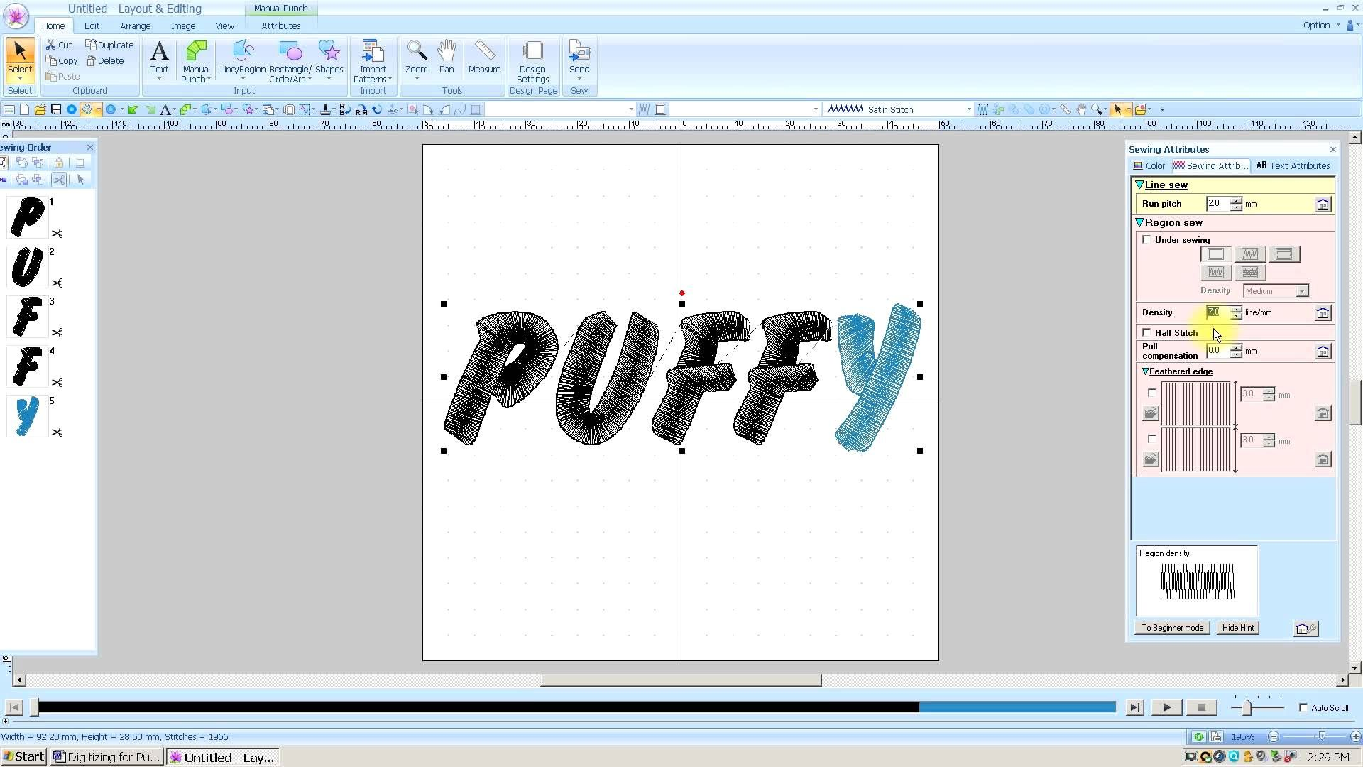Brother PE Design Next Digitizing for Puffy 3D Foam
