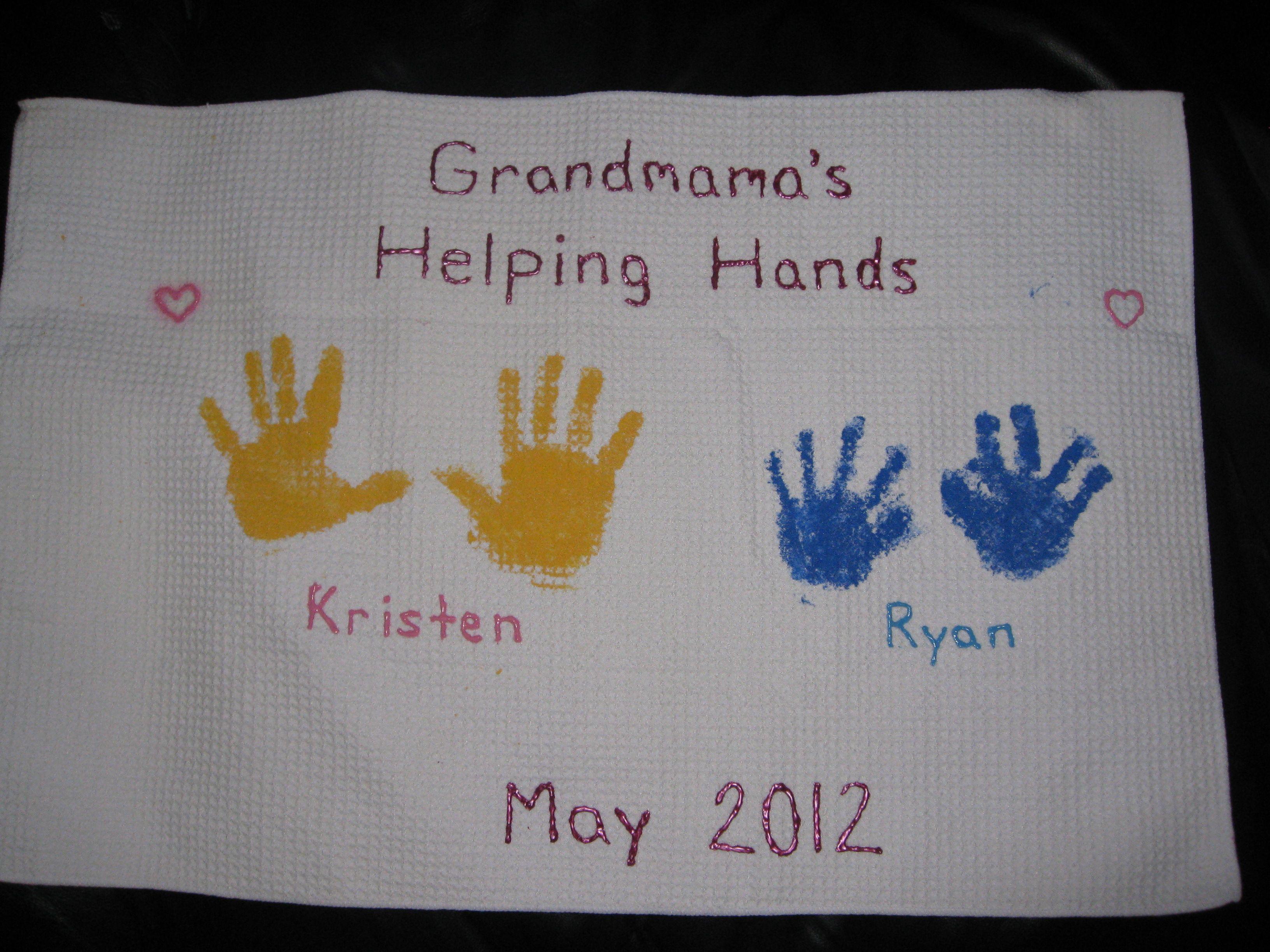 Handprint Towel For Grandparents Day