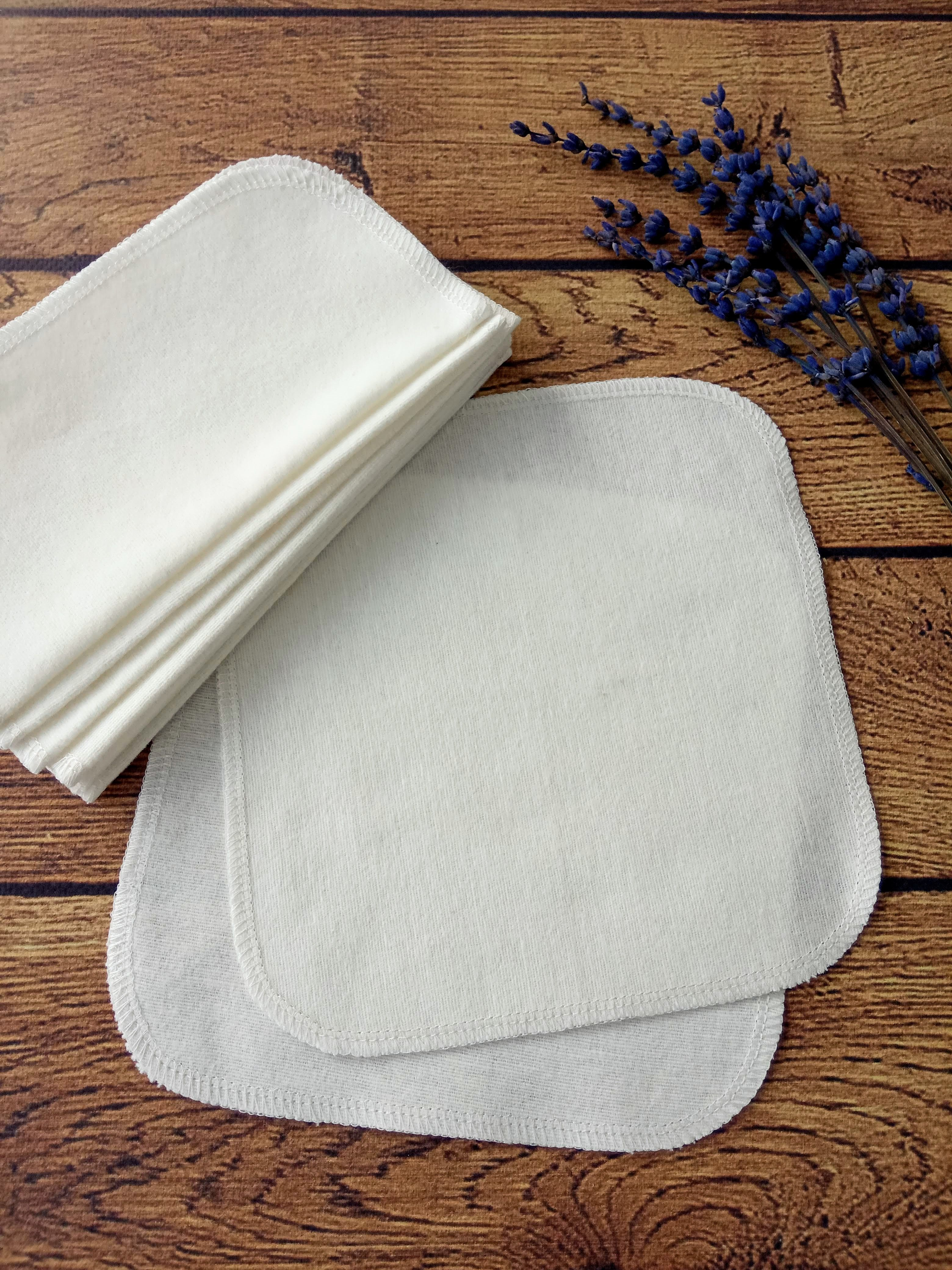 Reusable cloth family wipes of white cotton flannel. Set