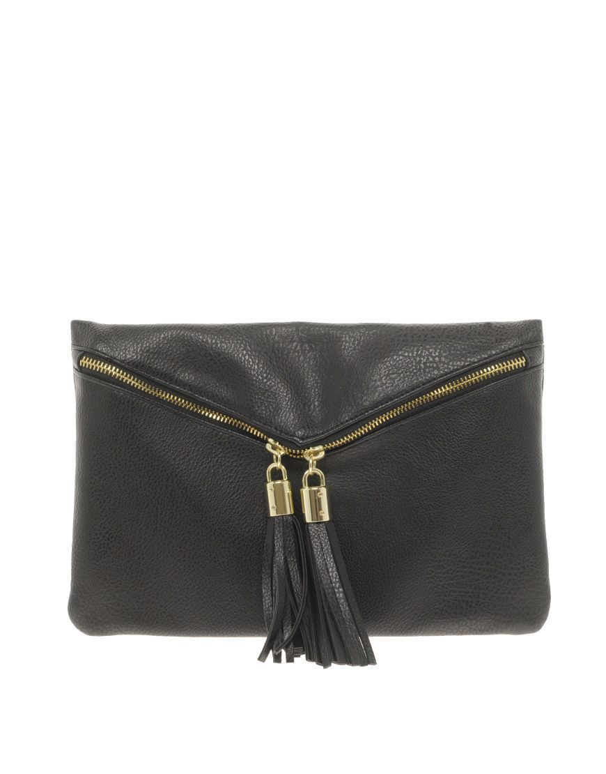 ASOS Clutch Bag With Double Tassel Zip at asos.com