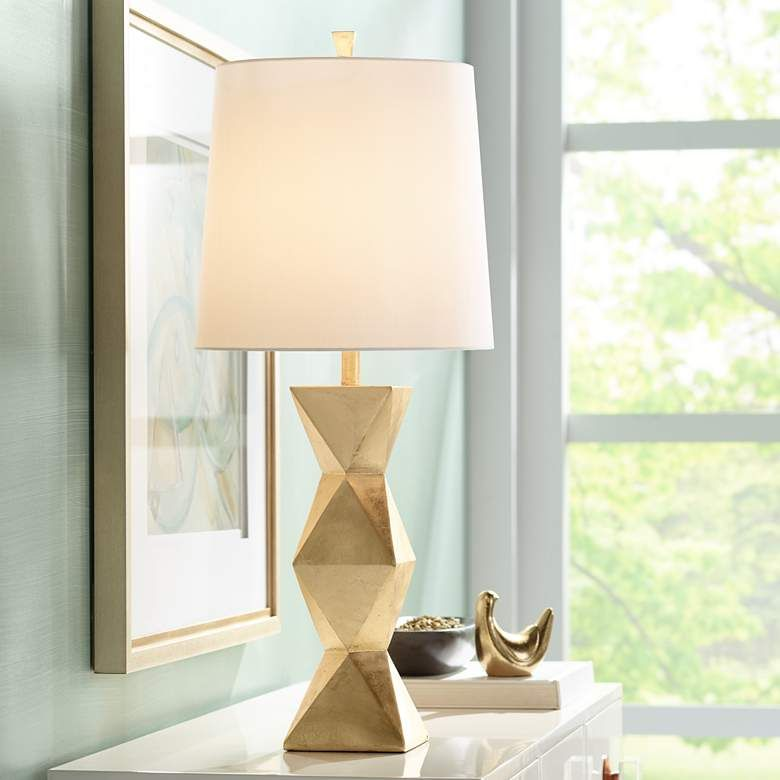 Ripley Gold Finish Modern Table Lamp 2x122 Lamps Plus Modern Table Lamp Stylish Table Lamps Table Lamp