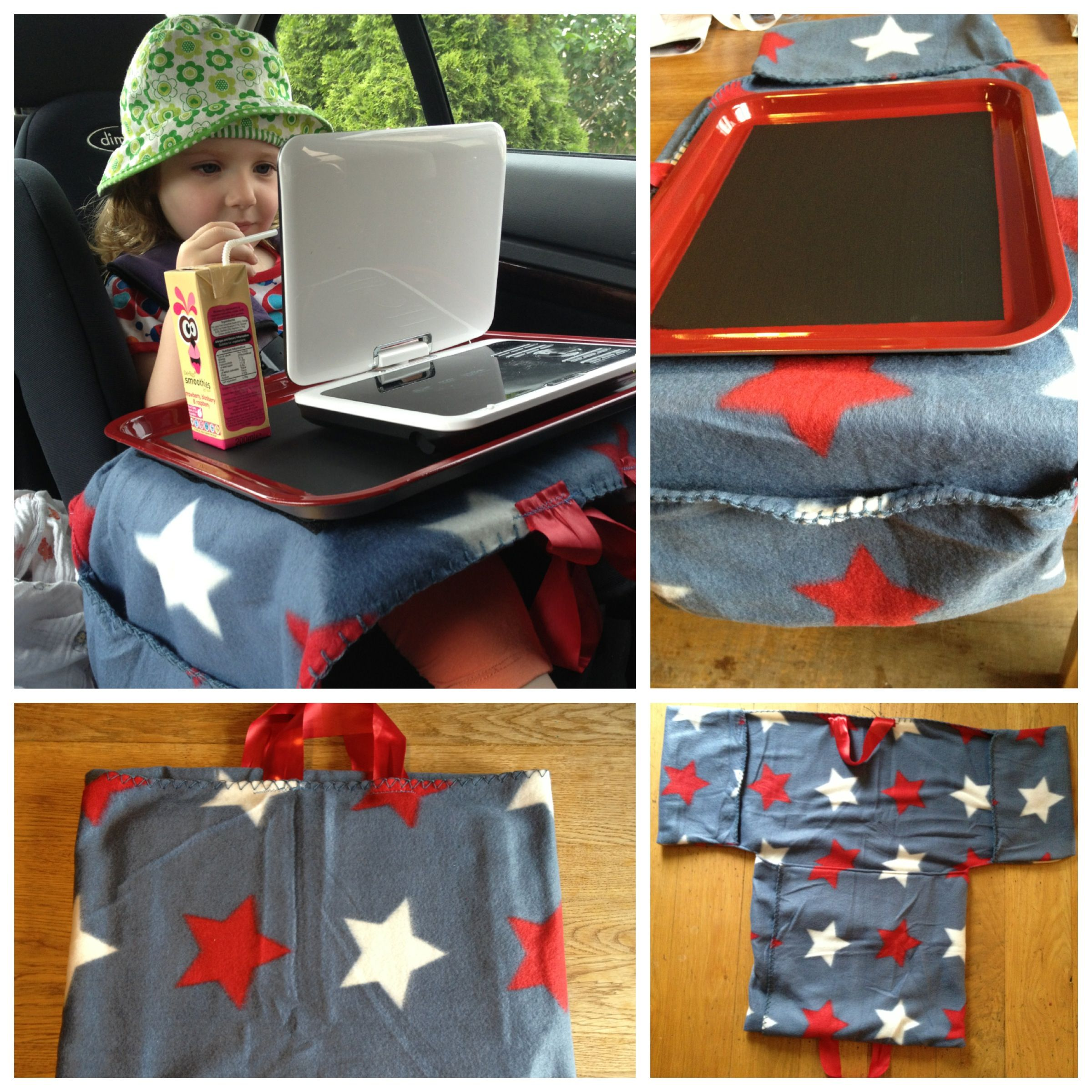 DIY Tray Table For Car Seat Baking Painted With Blackboard Paint And Velcroed To Fleece Pillow Side Pockets Made From Cheap Throw