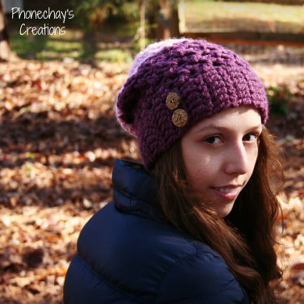 Purple and Pink Slouchy Crochet Beanie. #style #headband #colorful #fashionista 9thelm.com