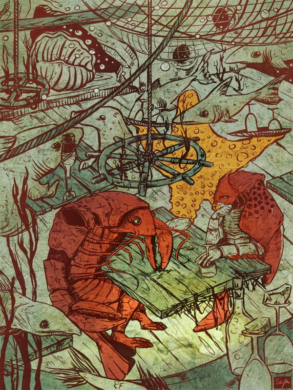 "eatsleepdraw:  "" underwater tavern by http://scythuniverse.tumblr.com/  https://www.artstation.com/artist/monikaseczkowska  ""  :)"