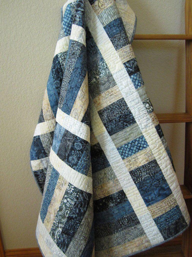 Batik Quilt In Blue Gray And Tan Batik Quilts Jellyroll Quilts Blue Quilts