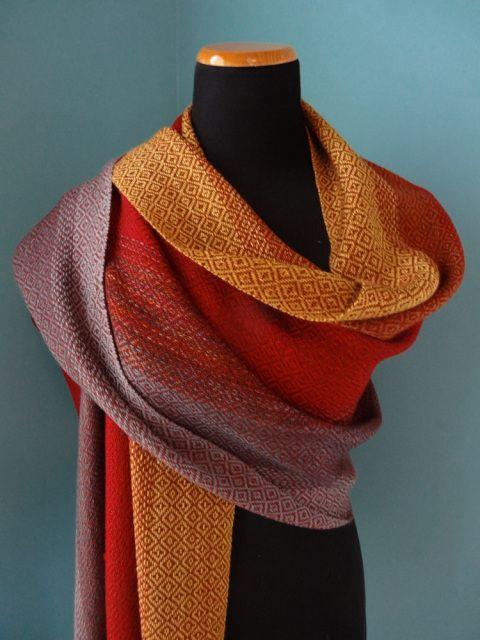 Weave Your Fade Merino & Tencel Shawl / Handwoven