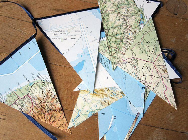 Wimpelkette landkarte atlas weltreise von renna deluxe - Weltkarte basteln ...