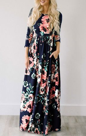 a457295d2  33.99 Chicnico Ecstatic Harmony Navy Blue Floral Print Maxi Dress ...