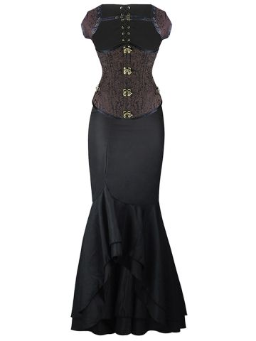 walkingon elegant gothic steampunk steel boned underbust